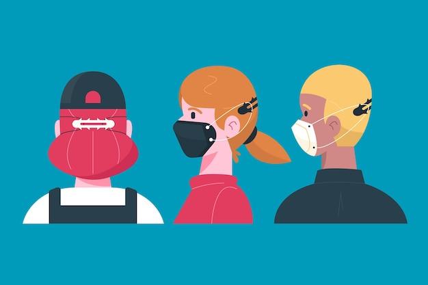 Hand gezeichnete personen, die einen verstellbaren gesichtsmaskenriemen tragen