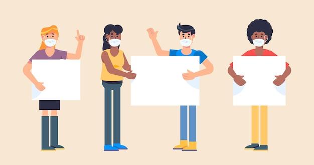 Hand gezeichnete personen in medizinischen masken mit plakaten