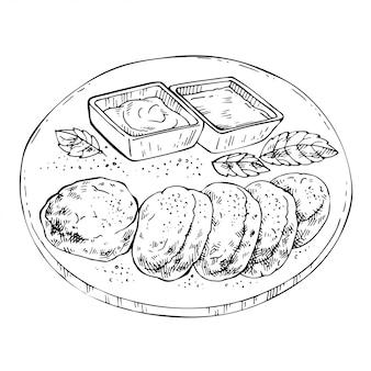 Hand gezeichnete pfannkuchen auf einer platte