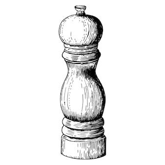 Hand gezeichnete pfeffermühle