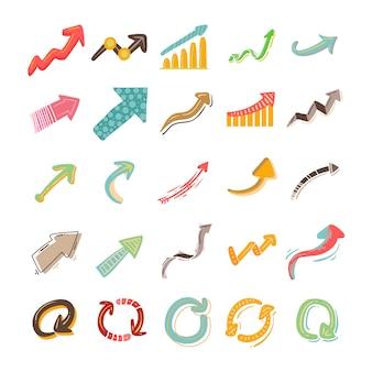 Hand gezeichnete pfeil-ikonen-sammlung