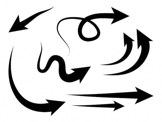 Hand gezeichnete pfeile sammlung, mit verschiedenen richtungen. gekritzel.