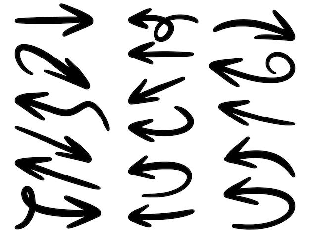 Hand gezeichnete pfeile symbole gesetzt lokalisiert auf weiß.