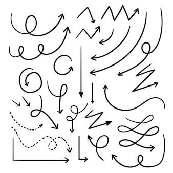 Hand gezeichnete pfeilsammlung Premium Vektoren