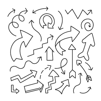 Hand gezeichnete pfeilsammlung