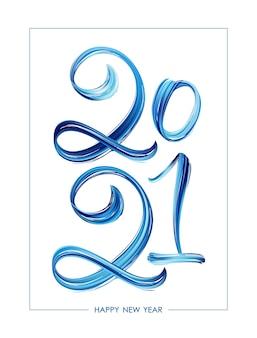 Hand gezeichnete pinselstrich blaue farbe schriftzug, frohes neues jahr