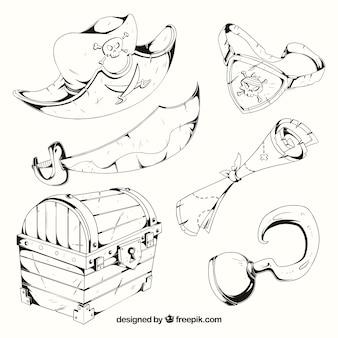 Hand gezeichnete piratenelemente sammlung
