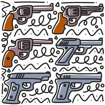 Hand gezeichnete pistolenkritzelsatz mit symbolen und designelementen