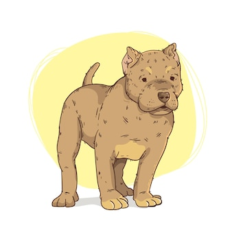 Hand gezeichnete pitbull-illustration