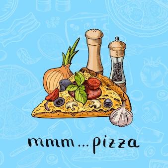 Hand gezeichnete pizza, gewürze, zwiebeln und knoblauch haufen mit schriftzug auf pizza zutaten