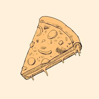 Hand gezeichnete pizza illustration