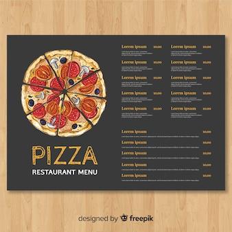 Hand gezeichnete pizzarestaurant-menüschablone