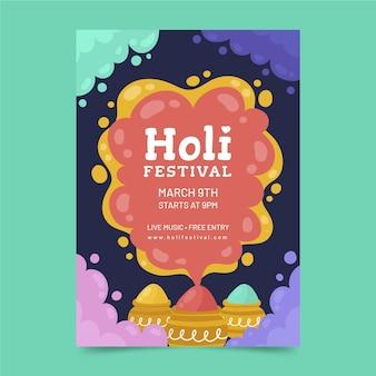 Hand gezeichnete plakatschablone des holi-festivals