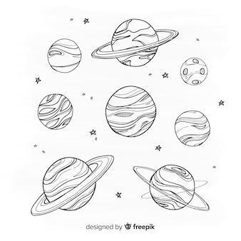 Hand gezeichnete planetensammlung in der gekritzelart