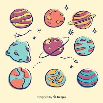 Hand gezeichnete planetensammlung