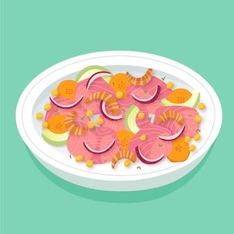 Hand gezeichnete platte der köstlichen ceviche