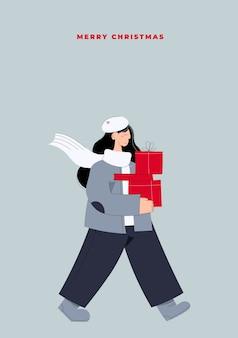 Hand gezeichnete postkarte der frohen weihnachten und des guten rutsch ins neue jahr mit frau, die weihnachtsgeschenkboxen vom weihnachtsverkauf trägt