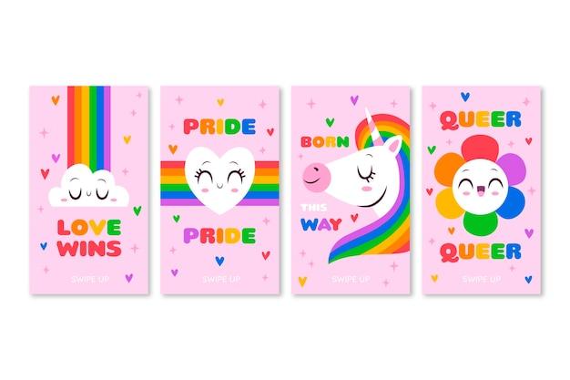 Hand gezeichnete pride day instagram geschichten sammlung