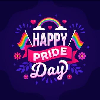 Hand gezeichnete pride day schriftzug