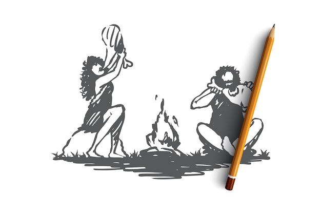 Hand gezeichnete primitive leute, die nahe lagerfeuer-konzept-skizze essen