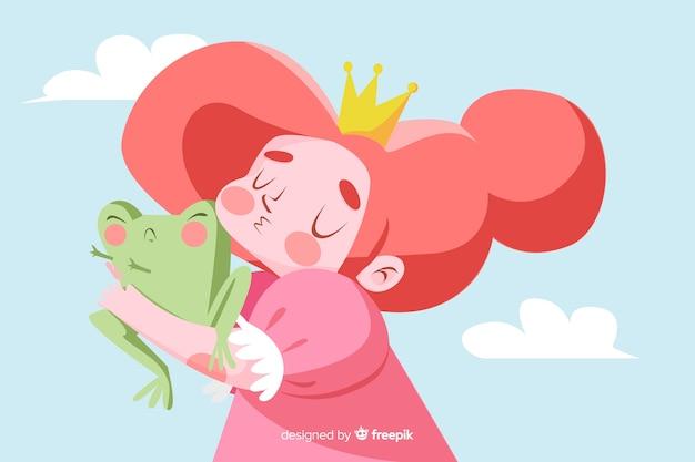 Hand gezeichnete prinzessin, die einen frosch küsst