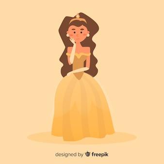 Hand gezeichnete prinzessin mit gelbem kleid