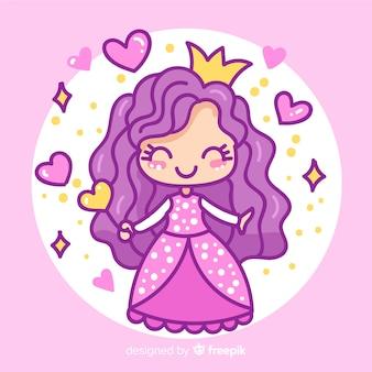 Hand gezeichnete prinzessin mit purpurrotem kleid