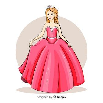 Hand gezeichnete prinzessin mit rosafarbenem kleid