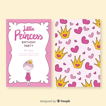 Hand gezeichnete prinzessinart-glückwunschkarte