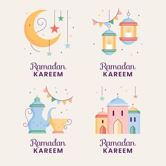 Hand gezeichnete ramadan-etikettensammlung