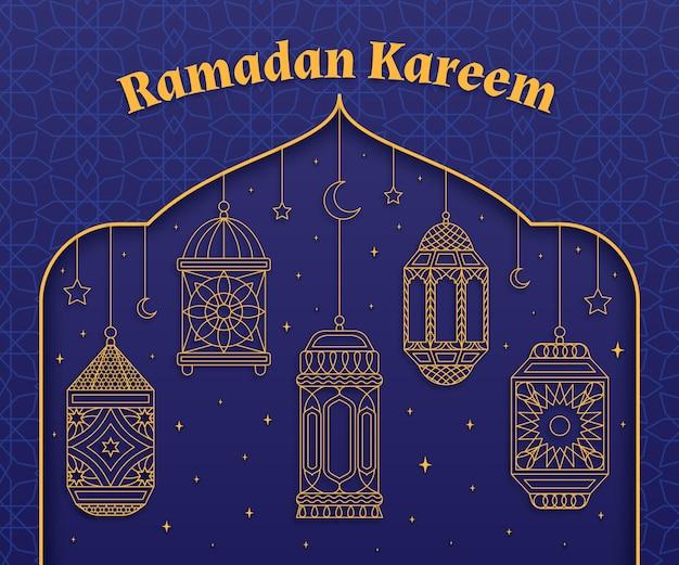 Hand gezeichnete ramadan kareem illustration