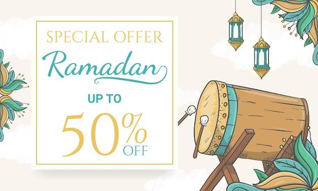 Hand gezeichnete ramadan-verkaufsfahne mit islamischer verzierungsillustration