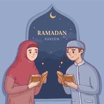 Hand gezeichnete ramadanillustration mit der person, die betet