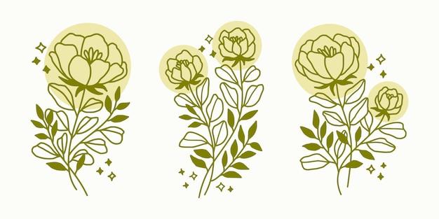 Hand gezeichnete realistische botanische frühlingsblumen-, zweig- und blattlogoelement-sammlung