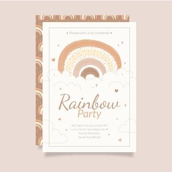 Hand gezeichnete regenbogengeburtstagseinladungsschablone