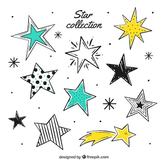 Hand gezeichnete reihe von sternen