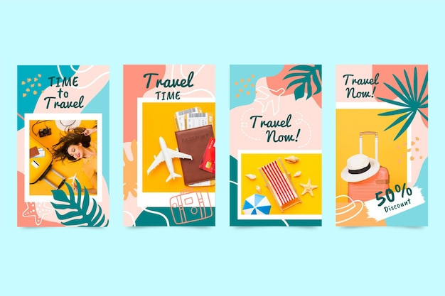 Hand gezeichnete reiseinstagramgeschichten