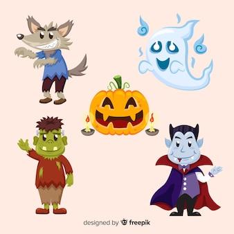 Hand gezeichnete reizende halloween-charaktersammlung