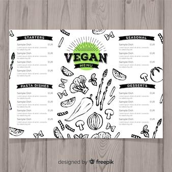 Hand gezeichnete restaurant-menüschablone des strengen vegetariers