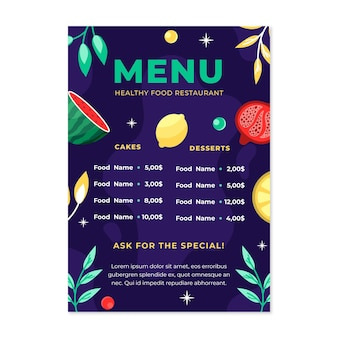 Hand gezeichnete restaurantkarte