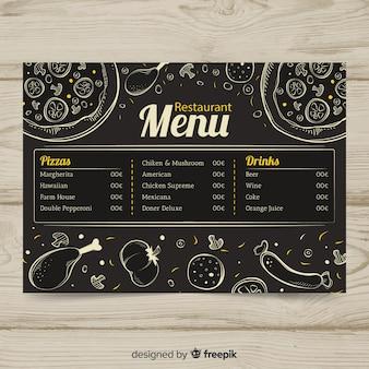 Hand gezeichnete restaurantmenüschablone