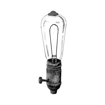 Hand gezeichnete retro- glühlampe