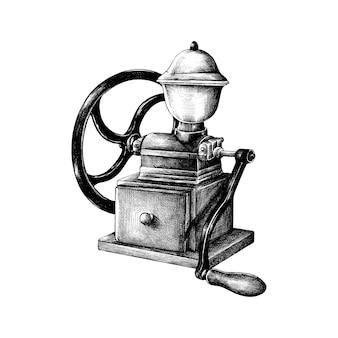 Hand gezeichnete retro kaffeemühle