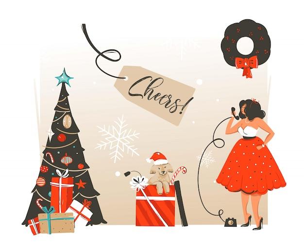 Hand gezeichnete retro-waschbär-illustrations-grußkarte der frohen weihnachten und des glücklichen neuen jahres mit der schönen frau im kleid und im hund in der geschenkbox auf weißem hintergrund