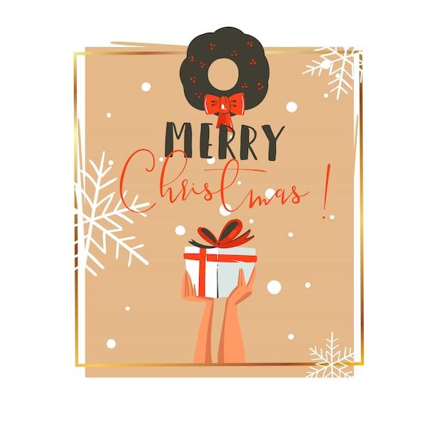Hand gezeichnete retro-waschbär-illustrations-grußkarte der frohen weihnachten und des glücklichen neuen jahres mit leuten, die überraschungsgeschenkbox und mistel auf weißem hintergrund halten