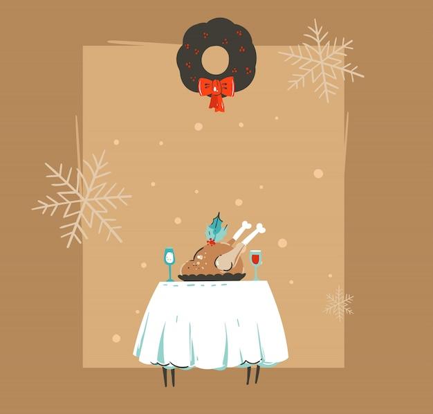 Hand gezeichnete retro-waschbär-illustrations-grußkarte der frohen weihnachten und des guten rutsch ins neue jahrzeit mit weihnachtsessentisch, truthahn und kopienraum auf braunem hintergrund