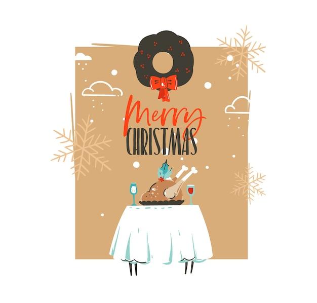 Hand gezeichnete retro-weinlese-karikaturillustrations-grußkarte der frohen weihnachten und des glücklichen neuen jahres mit weihnachts-esstisch, truthahn und mistelkranz lokalisiert