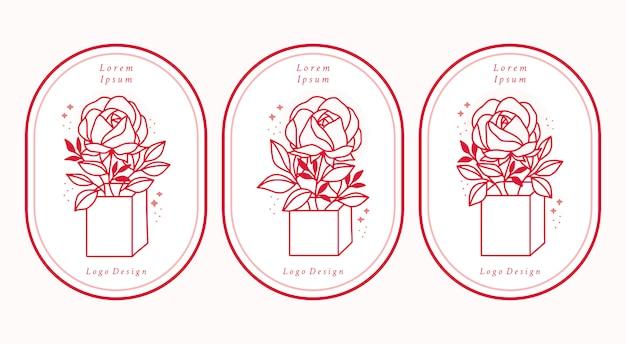Hand gezeichnete rosa botanische rosenblumenlogoelemente