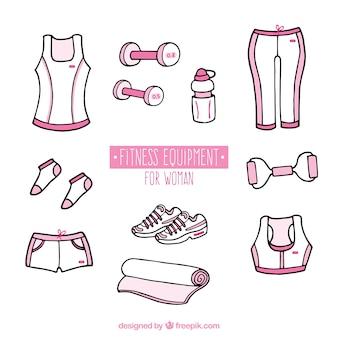 Hand gezeichnete rosa fitnessgeräte