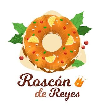 Hand gezeichnete roscón de reyes